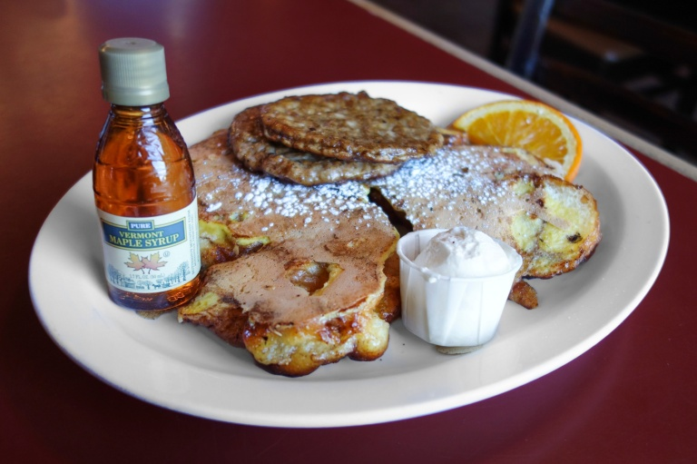 Apple fritter french toast at Hole in One in Orleans, MA.