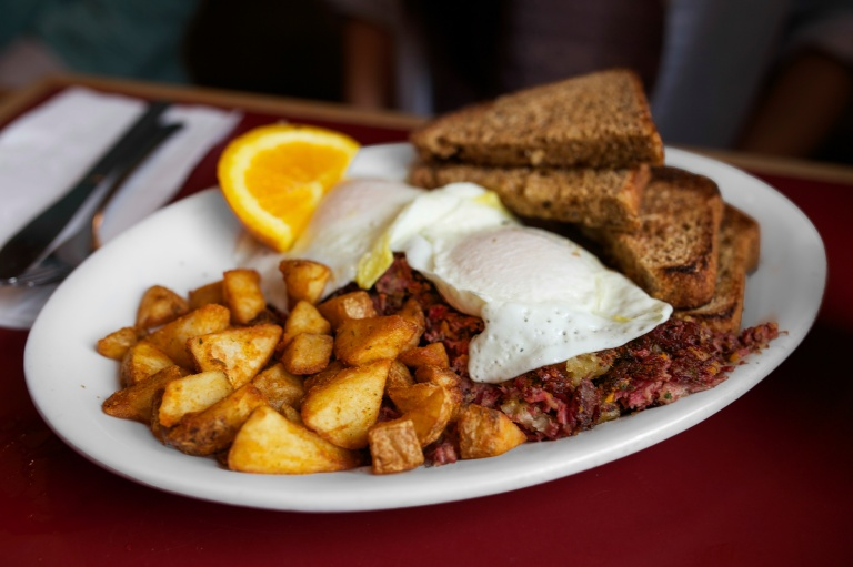The corned beef hash & eggs at Hole in One in Orleans, MA.