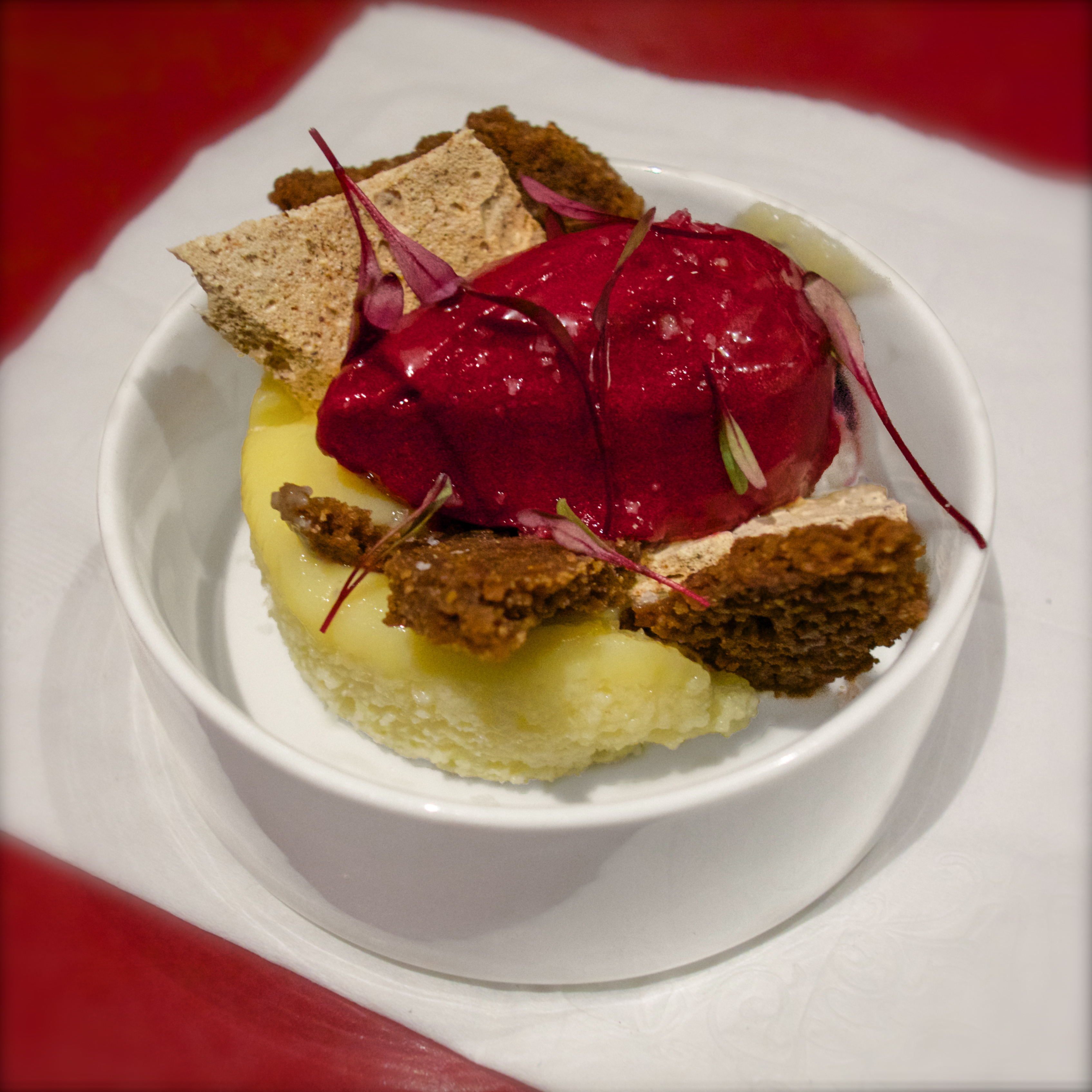Lemon steamed cake with ginger-beet sorbet, miso meringue, and pieces ...