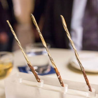 Sesame pocky stick with chocolate, sugar, and salt. It looks like incense but it tastes like candy!