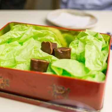 Yuzu marshmallow with chocolate.